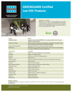 GREENGUARD Certified Low VOC Products