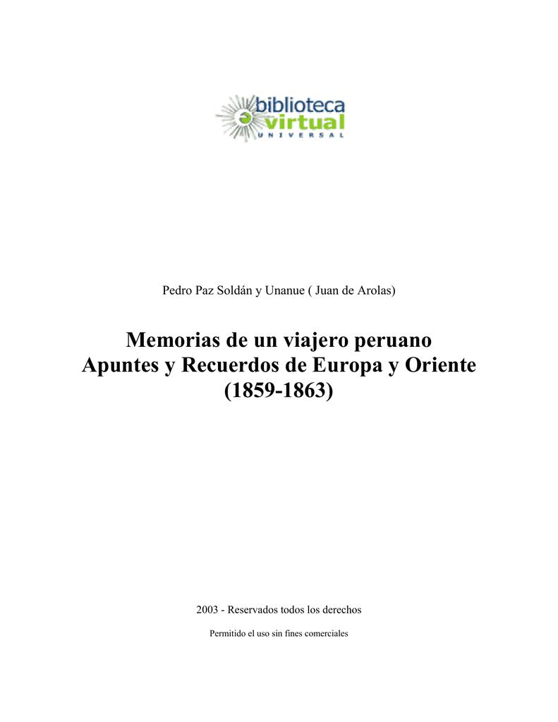 b439429113d9 Memorias de un viajero peruano Apuntes y Recuerdos de Europa y