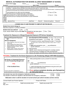 Authorization for Administration of Epinephrine (epipen)