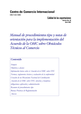 Manual of model procedures and guidance notes fo rimplementation
