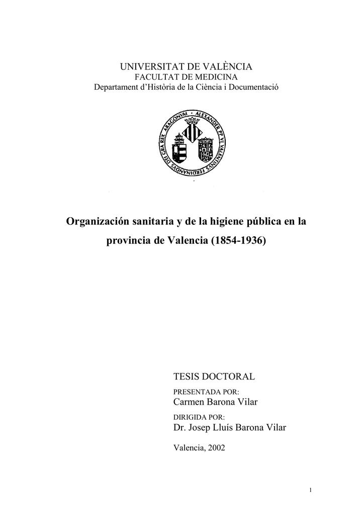 Organización sanitaria y de la higiene pública en la provincia