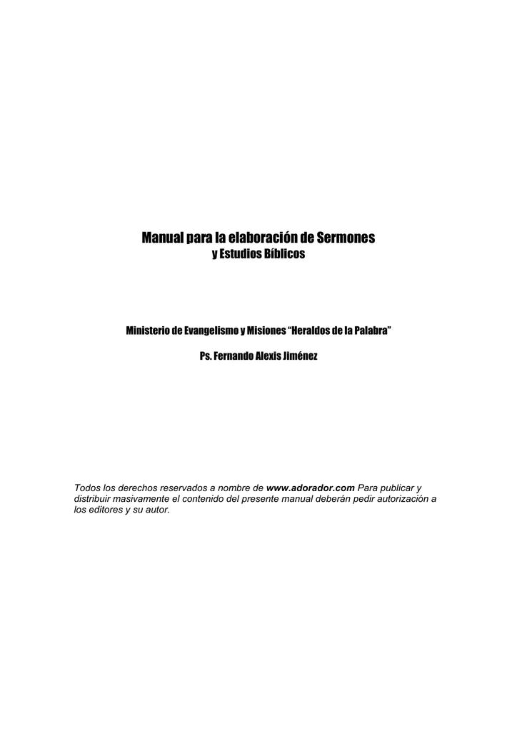 Manual Para La Elaboración De Sermones Y Estudios