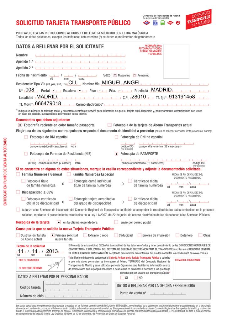 solicitud tarjeta transporte público