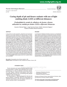 Curing depth of pit and fissure sealants with use of light emitting