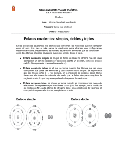 Enlaces covalentes: simples, dobles y triples