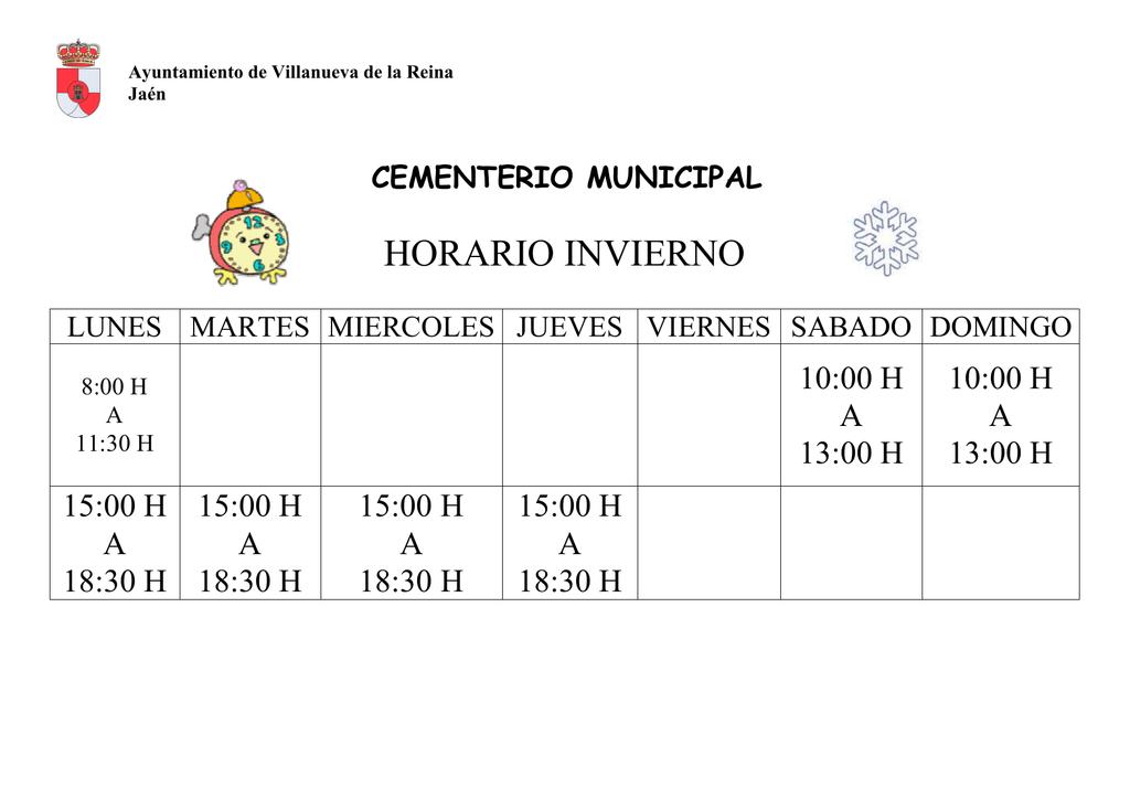 Horario Cementerio Ayuntamiento De Villanueva De La Reina