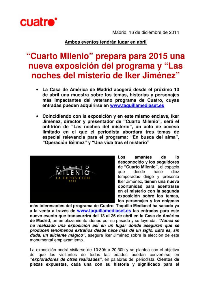 """Cuarto Milenio"""" prepara para 2015 una nueva exposición del"""