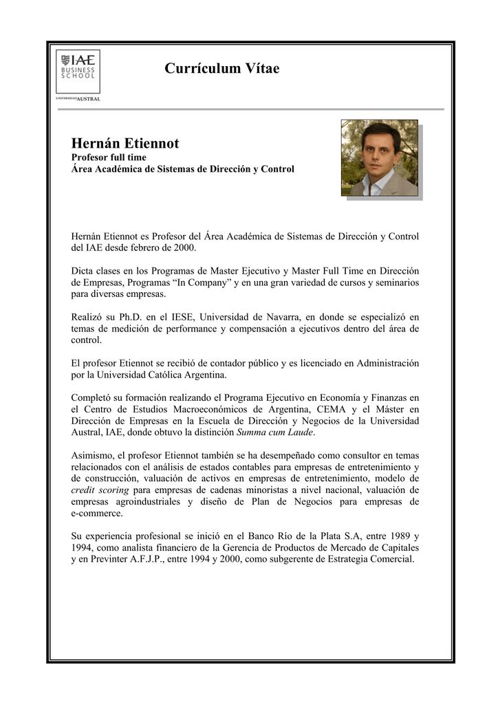 Currículum Vítae Hernán Etiennot