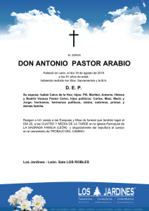 DON ANTONIO PASTOR ARABIO