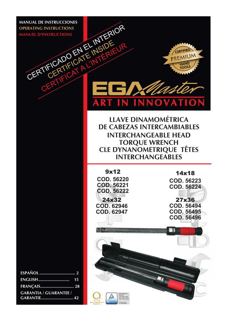 Cabeza fija para llave dinamometrica 65mm Egamaster