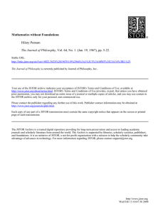 Mathematics without Foundations Hilary Putnam The Journal of