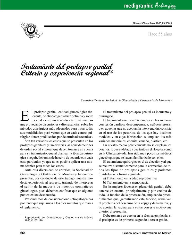 tratamiento quirurgico prolapso genital