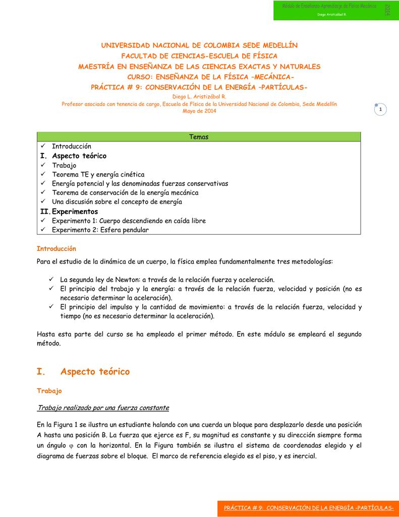 I. Aspecto teórico - Ludifisica - Universidad Nacional de Colombia