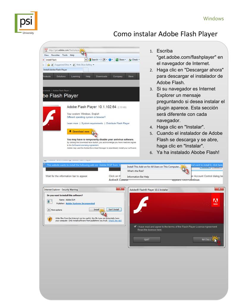 instalar adobe flash