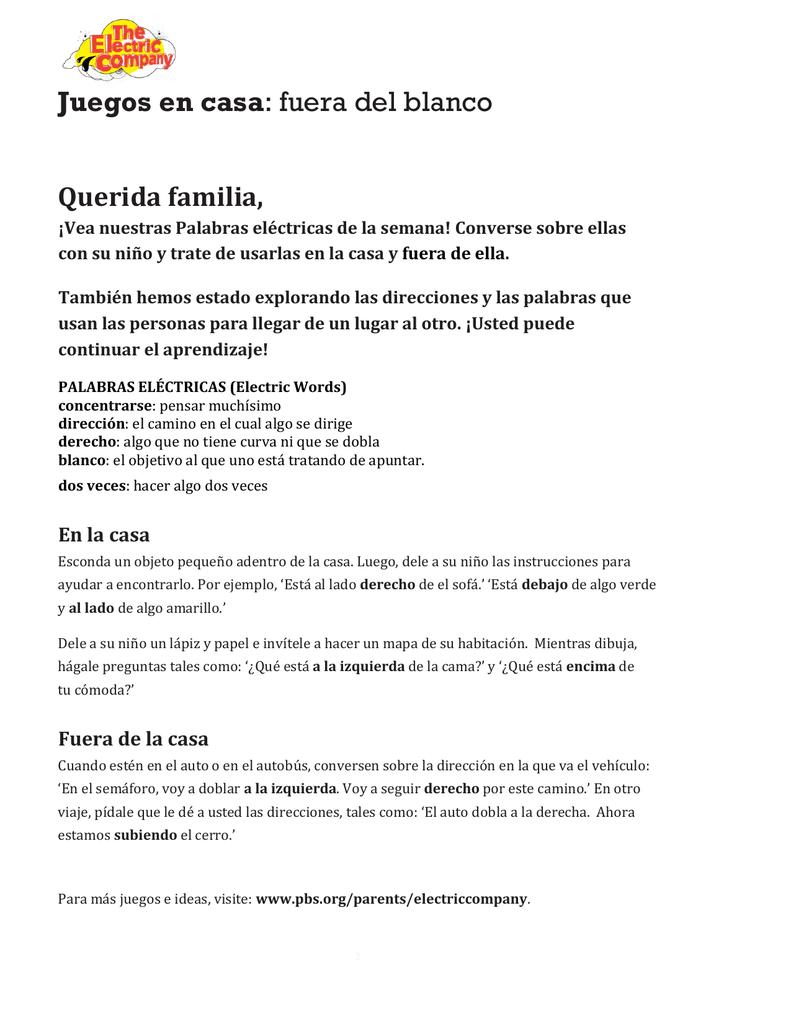 Juegos En Casa Fuera Del Blanco Querida Familia