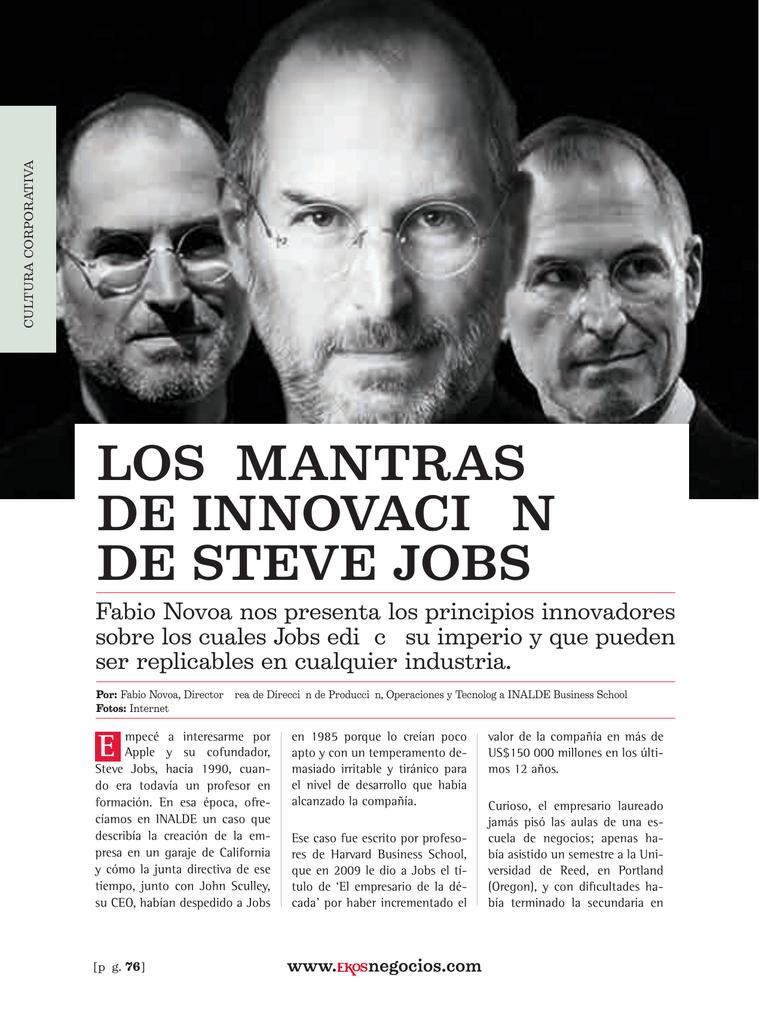 233df54098b Los mantras de innovación de Steve Jobs