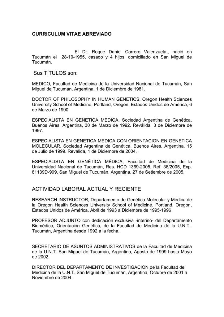 CURRICULUM VITAE ABREVIADO de DR ROQUE CARRERO.
