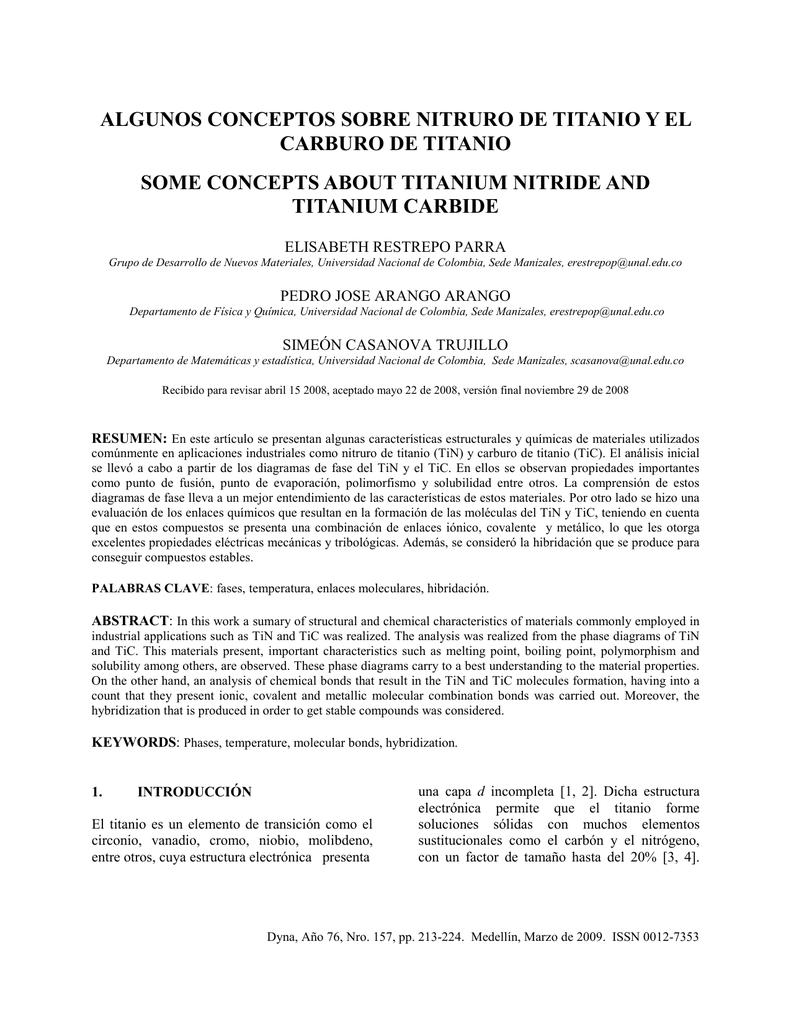 Algunos Conceptos Sobre Nitruro De Titanio Y El