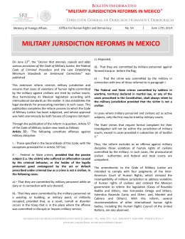 MILITARY JURISDICTION REFORMS IN MEXICO