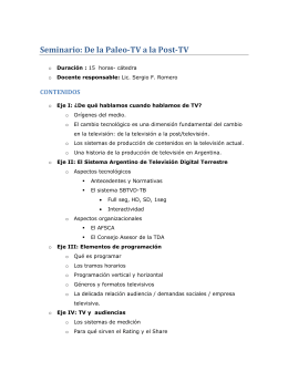 Seminario: De la Paleo-TV a la Post-TV