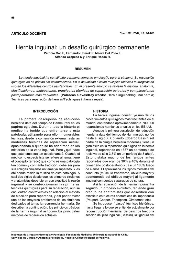 Hernia inguinal: un desafío quirúrgico permanente