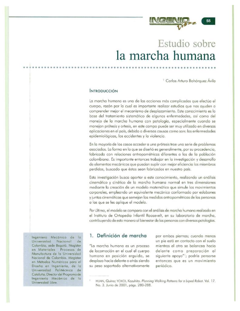 la marcha humana - Universidad Libre