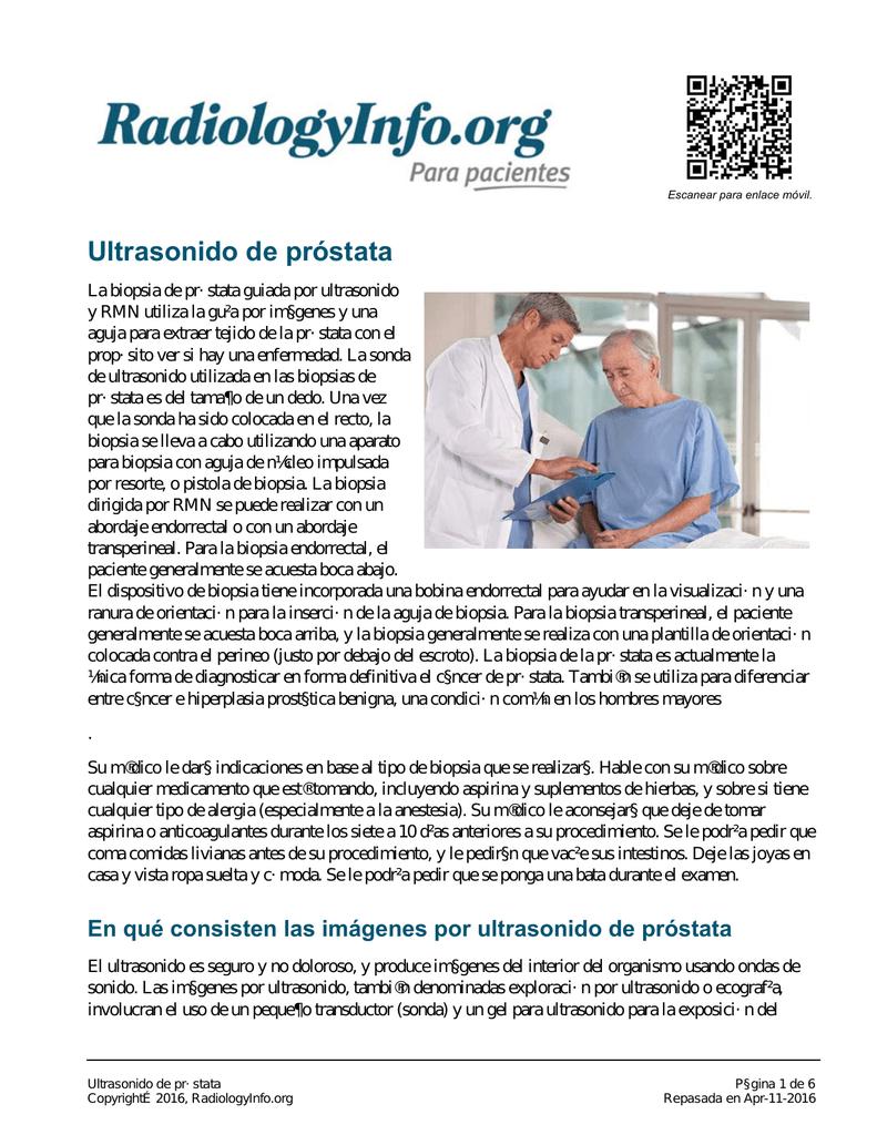 biopsia de próstata con seguimiento de aguja