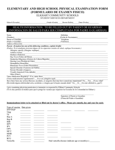 elementary and high school physical examination form