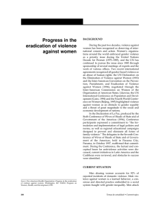 Progress in the eradication of violence against women