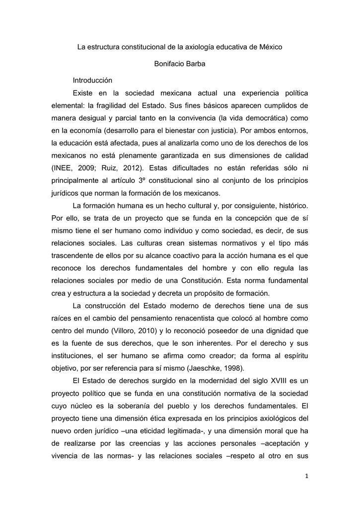 La Estructura Constitucional De La Axiología Educativa De México