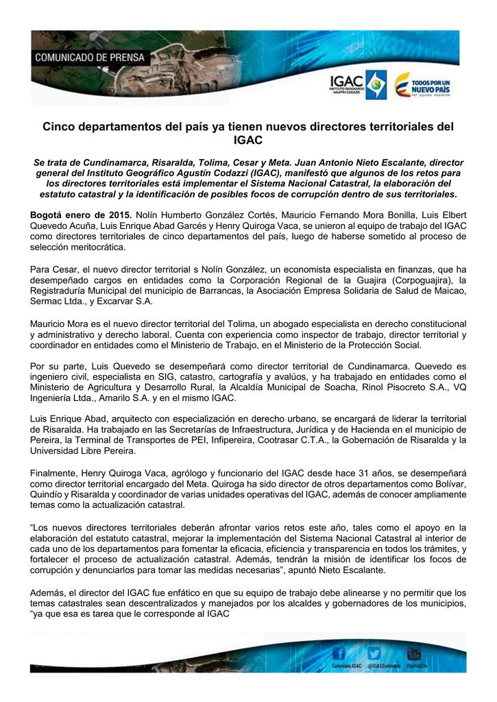 95cbe86936f Cinco departamentos del país ya tienen nuevos directores