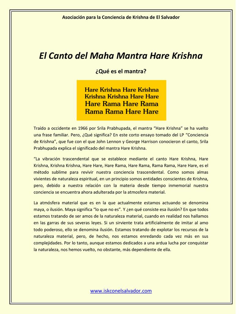 El Canto Del Maha Mantra Hare Krishna