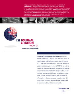 ISI Journal Citation Reports on the Web ofrece un método
