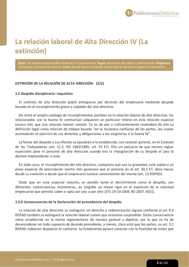 La relacion laboral de Alta Direccion IV (La extincion)