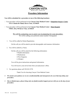 Procedure Information - Canyon Vista Medical Center