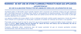 warning!! do not use or store flammable products near gas appliances