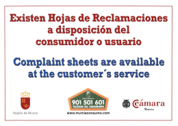 Complaint sheets are available al the customer` s serrice
