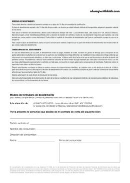 Ejercicio del derecho de desistimiento for Formulario desistimiento