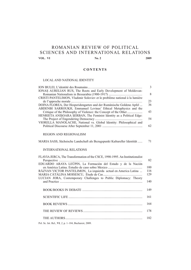 Romanian Review Of Political Sciences And International