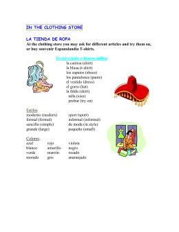 IN THE CLOTHING STORE LA TIENDA DE ROPA At the clothing 53e83a40dcc4