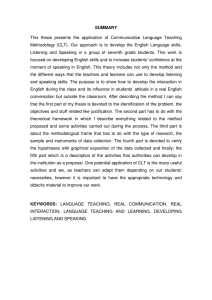 SUMMARY This thesis presents the application of Communicative