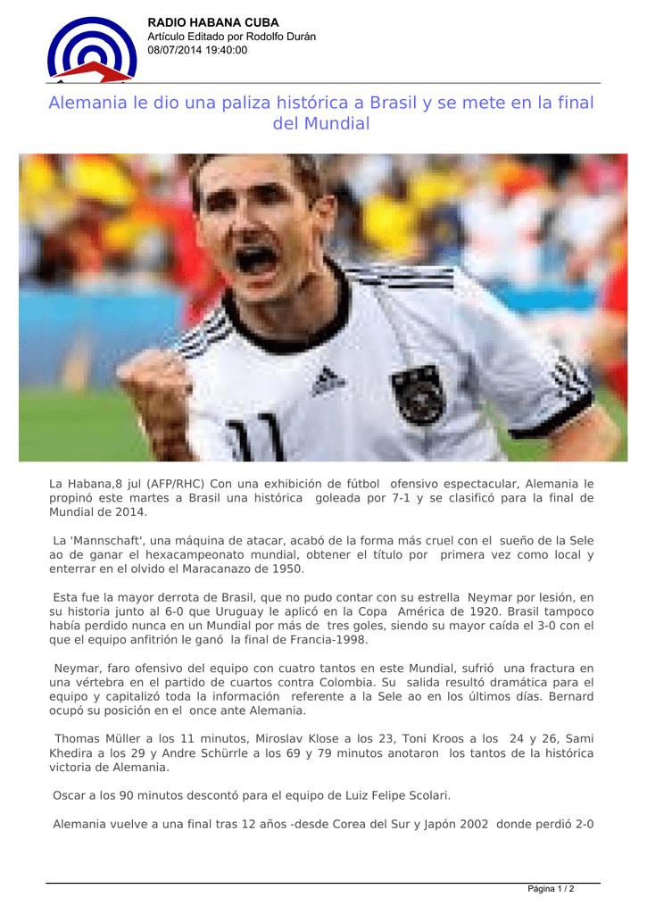 Alemania le dio una paliza histórica a Brasil y se mete en