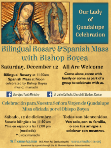 Bilingual Rosary at 11:30am Spanish Mass at Noon celebrated by
