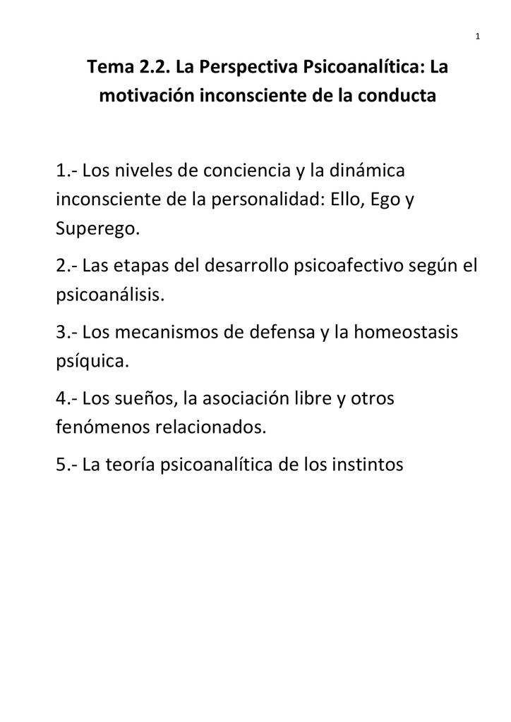 Tema 2 2 La Perspectiva Psicoanalítica La Motivación
