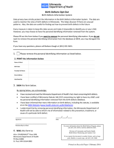 Birth Defects Parent Opt-Out Form