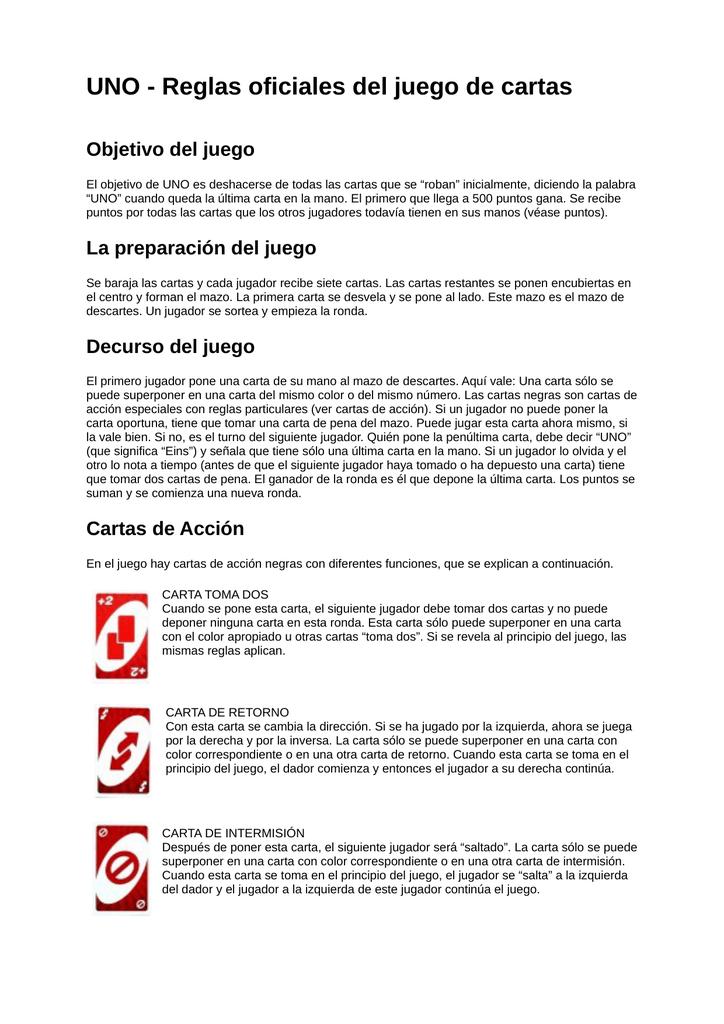 Uno Reglas Uno Juego De Cartas