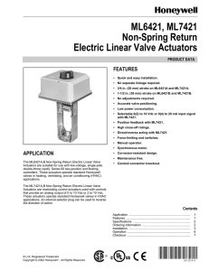 ML6421, ML7421 Non-Spring Return Electric Linear