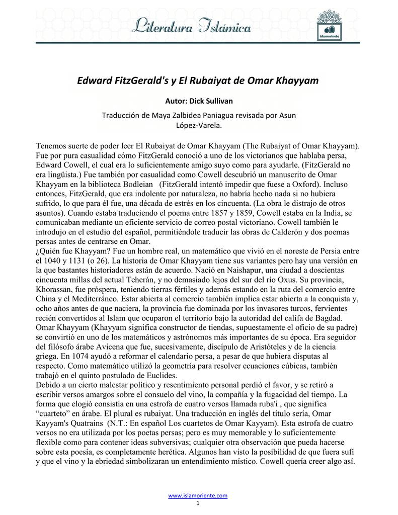 Edward Fitzgeralds Y El Rubaiyat De Omar Khayyam
