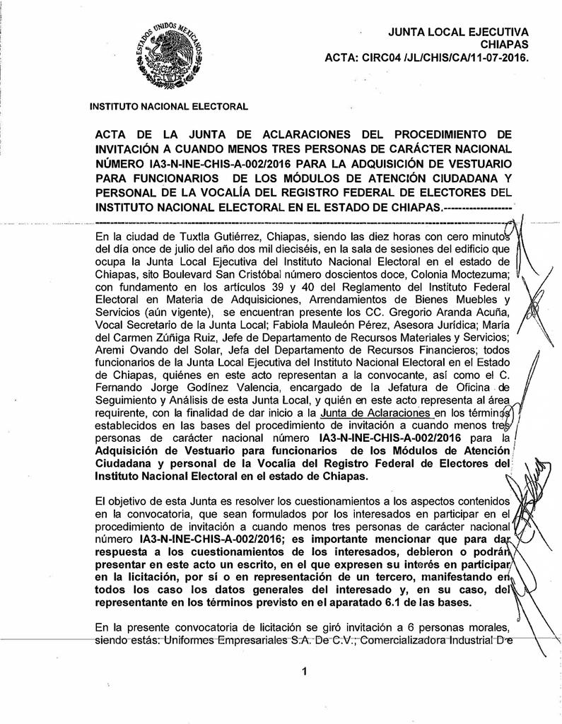 Junta Local Ejecutiva Chiapas Acta Circ04 Jl Chis Ca 11 07