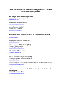 List of Presidents of the Latin American Hypertension Societies ESH